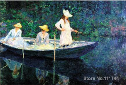 tres mujeres en barca de Monet
